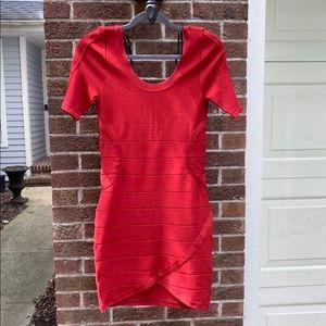 EUC bebe Red Short Sleeve Bandage Dress